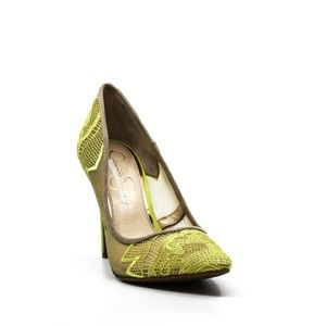 Jessica Simpson Camba Embroidered Lace Pumps Sheer